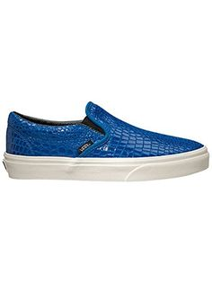Vans Unisex Snake Leather Classic SlipOn Skate * Visit the image link more  details. Vans Classic Slip On Snake Leather Blue Women s Shoes -