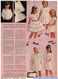 1963 Sears Christmas Book, Page 473 - Christmas Catalogs & Holiday Wishbooks Vintage Kids Fashion, Vintage Kids Clothes, Vintage Girls, Vintage Children, Vintage Dresses, Vintage Outfits, Cute Little Girl Dresses, Girls Dresses, Pretty Girls Names