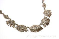 Silver Filigree Fringe Cannetille Necklace by VintageCravens