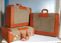 Unique Vintage Tweed Suitcase Luggage Set.