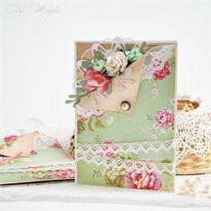 scrapek.pl: Tilda card with flowers and doily #tilda #tildacard