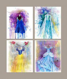 Disney Art Watercolor painting print, Disney Frozen Elsa, Frozen Anna, Cinderella, Snow White, Children Art Print ~ Nursery Art Print by BasovaArt on Etsy https://www.etsy.com/listing/220688911/disney-art-watercolor-painting-print