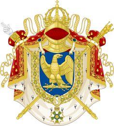 Imperial Coat of Arms of the French First Empire under Napoleon Bonaparte. Napoleon Josephine, Elba Napoleon, Napoleon French, French History, European History, Saint Dominique, First French Empire, Mexican Army, Napoleon