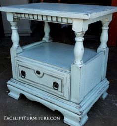 Robin's Egg Blue Refinished Furniture Chunky nightstand in distressed Robin& Egg Blue with Black Glaze. From Facelift Furniture& Robin& Egg Blue Furniture collection. Robins Egg Blue, Decor, Blue Furniture, Blue Nightstands, Furniture Collection, Refinishing Furniture, Furniture, Home Decor, Coffee Table