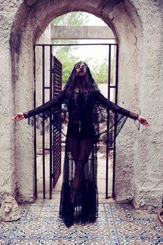 Model Anna Selezneva, photographer unknown #veil #black #lace #gothic