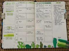 Idée weekly log pour bullet journal. J'adore les cactus !