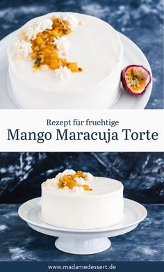 Fruity mango passion fruit cake with mango compote Madame dessert - Delicious, fruity mango passion fruit cake with mango compote & fruity passion fruit cream filling - Fall Desserts, Dessert Recipes, Quick Dessert, Dessert Nouvel An, Passion Fruit Cake, Mango, Dessert Aux Fruits, Banana Recipes, Cake