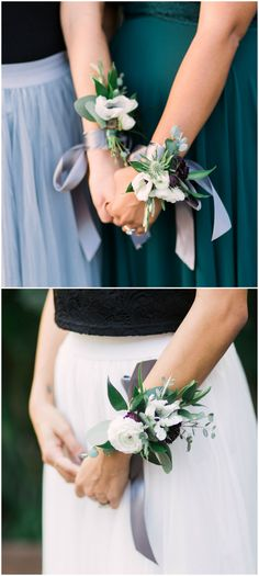 Bridesmaid corsages, bouquet alternatives, blue thistle, white ranunculus // Elm&Co