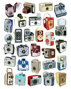 * inspirational illustration *: Cool art posters pertaining to old cameras Camera Drawing, Camera Art, Retro Camera, Camera Doodle, Camera Painting, Big Camera, Old Cameras, Vintage Cameras, Antique Cameras