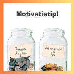 Tel de verloren pondjes of kilo's in twee mooie potten met steentjes of knikkers! #WeightWatchers #motivatie #DIY