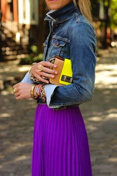 formula for a day of shopping: favorite t-shirt + jean jacket + long skirt + easy-to-remove bootie + cross-body bag!