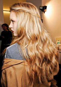 Beautiful pulled-back hair with loose waves