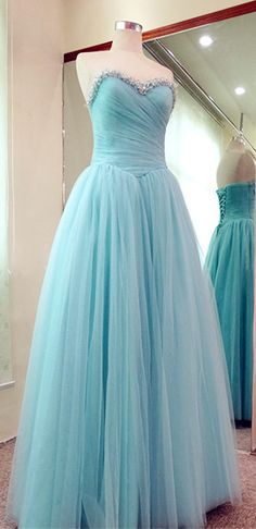 A-Line Tulle Evening Dresses 2015 Ruffles Lace Up Prom dress long with Beadings