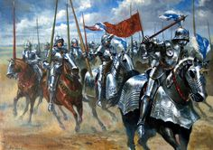 A group of knights charge into battle