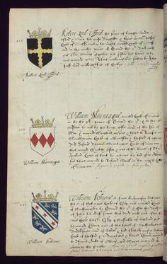 Another folio.  The entire manuscript seems to show the arms of English Peers grouped chronologically by King.  Hundreds of arms shown.  http://www.thedigitalwalters.org/Data/WaltersManuscripts/html/W847/description.html