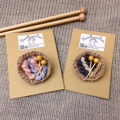 micro yarn brooches