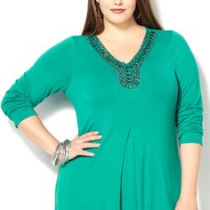Embellished Front Pleat Tunic-Plus Size Tunic-Avenue