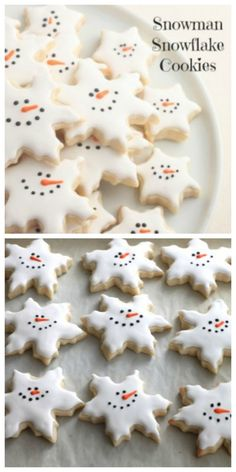 Snowman Snowflake Cookies--Links to Italian cookie and royal icing recipes included, as well as a tutorial on how to flawlessly ice your cookies. Christmas Sugar Cookies, Christmas Sweets, Christmas Cooking, Noel Christmas, Christmas Goodies, Holiday Cookies, Holiday Baking, Christmas Desserts, Holiday Treats