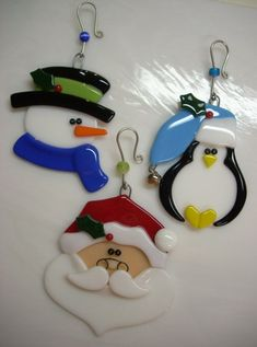 Fused Glass Christmas Ornament Sets Penguin Santa Snowman Reserved for Denise Glass Christmas Decorations, Stained Glass Christmas, Christmas Ornament Sets, Xmas Ornaments, Fused Glass Ornaments, Fused Glass Jewelry, Fused Glass Art, Mosaic Glass, Glass Fusing Projects