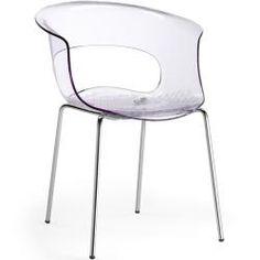 Auf Lager - Designer Stuhl transparent mit Chrombeinen Miss B Antishock 4 Legs Scab Design