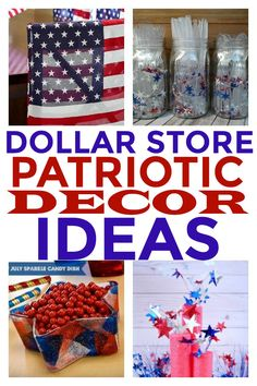 Dollar Store Patriotic Decor · Homebody DIY Patriotic Decorations you can put together at the Dollar Patriotic Crafts, Patriotic Wreath, July Crafts, Diy And Crafts, Summer Crafts, Dollar Store Hacks, Dollar Stores, Dollar Dollar, Diy On A Budget