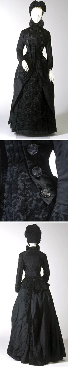 Mourning ensemble, ca. 1885. Silk jacket, bodice, and skirt. Powerhouse Museum