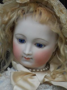 """Gorgeous French Elegant Bisque Poupee 26"""" w tight hairline. Possible by Barrois ... France circa 1870/75 ...."""