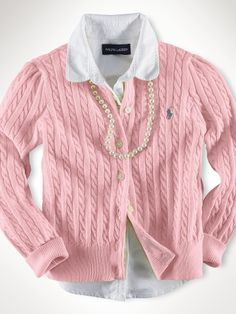 Cabled cardigan and pearls. Ralph Lauren Kids.