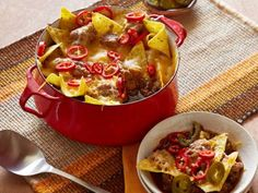 Rachael's Nacho-Topped Chili Pot