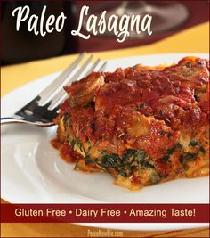 Try this 100% paleo and gluten free baked lasagna dish. Tastes amazingly close to traditional lasagna. Lots of great reviews! #paleo #glutenfree #lasagna