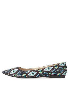 Aztec Print Pointy Toe Ballet Flats #charlotterusse #charlottelook