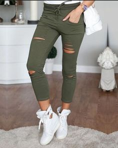 4b00e9069ceff 2016 lady Ripped Hole pants plus size skinny Pencil pants spring summer  sexy slim fitted leggings Army denim fashion capris