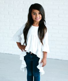 Take a look at this White Hi-Lo Tunic - Girls today!