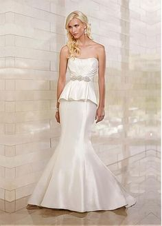 [209.99] Stylish Satin Mermaid Strapless Slightly Scoop Neckline Appliqued Peplum Wedding Dress With Beadings #ShopSimple