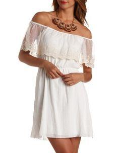 lace flounce off-the-shoulder dress $15 charlette russe