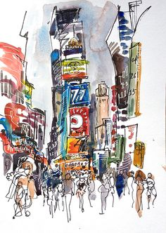 New York Sketch, Times Square, New York City - print from an original watercolor sketch Brooklyn Bridge New York, Times Square New York, City Sketch, Watercolor Architecture, Urban Sketchers, Watercolor Sketch, City Art, Portfolio, New York City