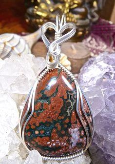 Wire Wrapped OCEAN JASPER Pendant in Argentium Silver Healing Gemstone Silver Jewelry Ocean Jasper Wire Wrap Ocean Jasper Jewelry by CrawfordStones on Etsy