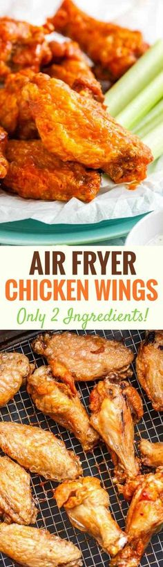 Easy Air Fryer Chicken Wings are so crispy and delicious without using any extra oil! Cooking Chicken Wings in an Air Fryer instead of deep-frying or baking them in the oven makes them healthier, simpler and clean up easier. They're ready in only 30 minut Cooking Chicken Wings, Crispy Chicken Wings, Chicken Wing Recipes, Actifry Chicken Wings, Chicken Ideas, Grilled Chicken, Air Fryer Wings, Air Fryer Chicken Wings, Air Frying