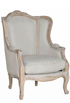 "WANT IT :: Phillippa Arm Chair :: $979 | OneKingsLane.com :: [29""w, 32""d, 40""h; Seat 18""h] Solid oak frame, linen upholstery :: Classic wing backed chair. Gorg. Love this frame design and the finish on the wood in combination with the shade of linen upholstery. 