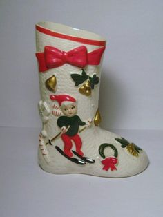 Vintage Christmas Candy Cane Skiing Pixie Elf porcelain Santa Mrs Claus Planter Boot Shoe Ucagco Japan 1950s Decoration Ornament Candy Dish by BrilbunnySelections on Etsy https://www.etsy.com/listing/161963498/vintage-christmas-candy-cane-skiing