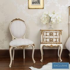Palais Ivory & Gold French Chair | French Bedroom Chair #ChairClassic