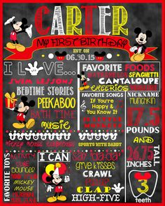 "Mickey Mouse Birthday Stat ""Chalkboard"" (digital poster) by ccharactercreationss on Etsy https://www.etsy.com/listing/234055480/mickey-mouse-birthday-stat-chalkboard"