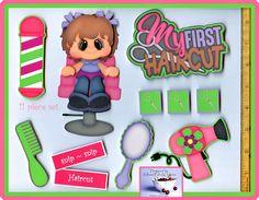 MY FIRST HAIRCUT ~ girl premade scrapbook pages 11 pc 3D paper piecing ~ CHERRY #BowlFullofCherriesScrabpooking