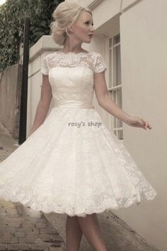 New Arrival Boat Neck Sash Knee-length Short Sleeve 50's Vintage Lace Wedding Dress Short € 96,78