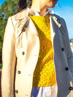 Trench coat | mustard yellow jacquard sweater | white button down shirt | black ankle jeans | black wedges | quilted purse | www.shoppingmyc...