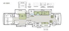 Bath and a half floorplan: Phaeton 40 QBH Tiffin Motorhomes, Rv, Floor Plans, Apple, Bath, Flooring, How To Plan, Phone, Apple Fruit