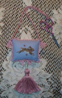beautiful Just Nan cross stitch ornament with fancy tassel