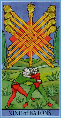 Nine of Wands - Dame Fortune's Wheel Tarot by Paul Huson.
