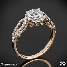 Verragio 4 Prong Round Halo Diamond Engagement Ring