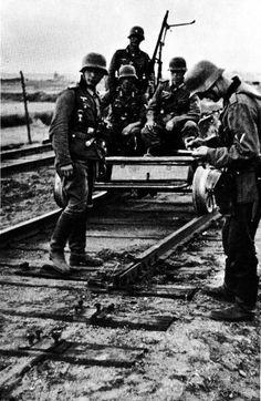"derpanzergraf: ""A handcar patrol inspecting evidence of saboteurs "" Ww1 Photos, Germany Ww2, Akashic Records, German Uniforms, Korean War, German Army, Panzer, American Revolution, World War Two"